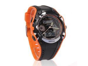 Foxnovo Alike AK9132 Waterproof Students Children's Dual Time Sports LED Quartz Wrist Watch with Date /Alarm /Stopwatch (Orange+Black)