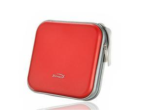 Foxnovo E40 Portable Plastic 40 Disc CD DVD VCD Wallet Storage Bag Case Organizer (Red)