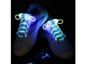 Foxnovo Novelty Weatherproof Washable 3-Mode LED Glowing Flashing Shoelaces - One Pair (Blue & Green Light)