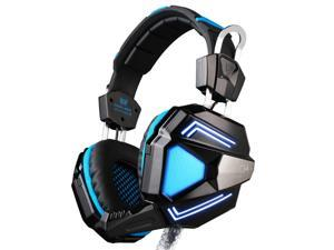 Foxnovo   G5200 Virtual 7.1 Surround Sound Gaming Headset Wired USB Headphone with Mic /Built-in Vibration Function /LED Light (Blue+Black)