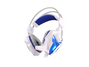 Foxnovo   G3100 Stereo Pro Gaming Headset Bass USB Headphone with Microphone & LED Light (White+Blue)