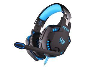 Foxnovo   G2100 Professional Over-ear Headband Stereo Bass Vibration Gaming Headphone Headset with MIC /LED Lights for PC Gamer (Black+Blue)