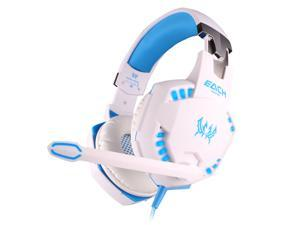 Foxnovo   G2100 Professional Over-ear Headband Stereo Bass Vibration Gaming Headphone Headset with MIC /LED Lights for PC Gamer (White+Blue)