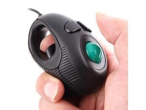 Foxnovo Portable Finger Handheld 4D USB Powered Mini Trackball Mouse (Black)
