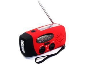 Foxnovo Portable Multi-functional Emergency Solar/Hand Crank Dynamo/USB Powered AM/FM Radio 3-LEDs Flashlight Cellphone Charger (Red)
