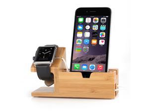 Foxnovo Bamboo Wood Charging Charging Stand / Charging Dock / Charging Station / Charging Bracket / Charging Holder for Apple Watch 38mm and 42mm with iPhone Display Stand and USB Ports (Wood Color)