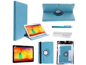 Foxnovo 4-in-1 360-degree Rotating Stand PU Flip Case Cover Set for Samsung Galaxy Note 10.1 2014 Edition P600/P601/P605