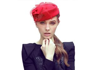 Foxnovo Women Lady Dress Fascinator Wool Felt Pillbox Hat with Bow and Veil