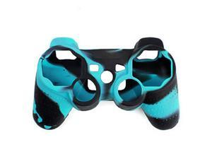 Foxnovo Durable Soft Silicone Protective Skin Case Cover for Sony PlayStation PS2 /PS3 Controller (Blue+Black)