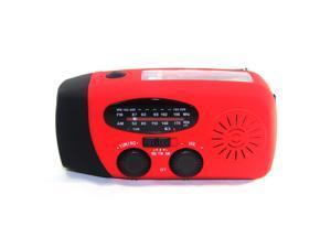 Foxnovo Portable Multi-functional Emergency Solar/Hand Crank Dynamo/USB Powered AM/FM/WB NOAA Weather Radio 3-LEDs Flashlight Cellphone Charger (Red)