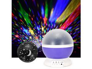 Foxnovo Star Lighting Lamp 4 LED Bead 360 Degree Romantic Room Rotating Cosmos Star Projector with USB Cable Light Lamp Star Sky Night Projector Kid Bedroom Lamp for Christmas - Purple
