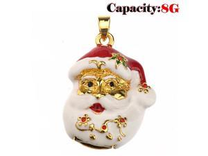 Foxnovo Funny Rhinestones Decor Santa Claus Head Shaped 8GB USB 2.0 Flash Drive U-disk USB Flash Memory (White)