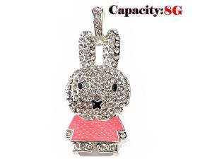 Foxnovo Beautiful Rhinestones Decor Cartoon Rabbit Shaped 8GB USB 2.0 Flash Drive U-disk USB Flash Memory (Pink)