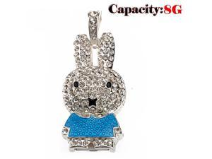 Foxnovo Beautiful Rhinestones Decor Cartoon Rabbit Shaped 8GB USB 2.0 Flash Drive U-disk USB Flash Memory (Blue)