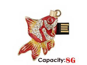 Foxnovo Fashion Rhinestones Decor Mini Goldfish Shaped 8GB USB 2.0 Flash Drive U-disk USB Flash Memory