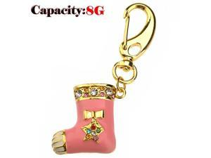 Foxnovo Funny Rhinestones Decor Christmas Stocking Shaped 8GB USB 2.0 Flash Drive U-disk USB Flash Memory (Pink)