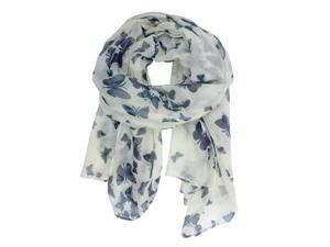 Foxnovo 180*100cm Fashion All-match Women's Girls Butterfly Printed Long Soft Voile Scarf Muffler Shawl Wrap (White)