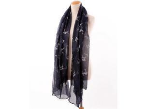 Foxnovo 180cm Swallow Decored Women's Ladies Girls Sun Block Sunscreen Long Voile Scarf Shawl Stole Wrap (Navy)