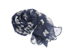 Foxnovo 180*100cm Fashion All-match Women's Girls Butterfly Printed Long Soft Voile Scarf Muffler Shawl Wrap (Navy Blue)