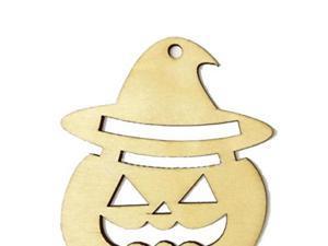 Foxnovo 10pcs Wooden Tags Pumpkin Face Shape Halloween Hanger Gift Tags Ornament