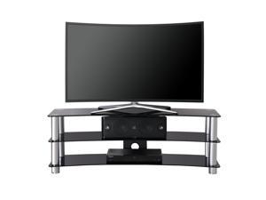Fitueyes Curved TV Stand With 3-tiers Tempered Glass Media Entertainment Center for 32-58 Inch OLED Flat Screen Television