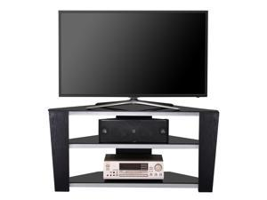 Fitueyes Wooden Rack Tv Stand with Black Glass for 32-50 Inch Flat Screen Television
