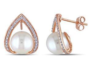 Michiko 1/4 CT Diamond and 9-9.5 mm Freshwater Pearl 10K Rose Gold Drop Earrings