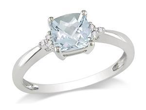 Sofia B 4/5 CT Aquamarine and Diamond 10K White Gold Ring