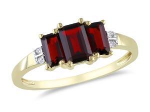Sofia B 1 5/8 CT TW Garnet and Diamond 10K Yellow Gold Fashion Ring
