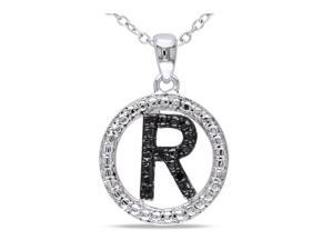 """Julie Leah """"R"""" Initial Sterling Silver Pendant Necklace with Black Diamond Accents"""