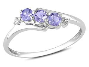 Sofia B 1/3 CT TW Tanzanite 10K White Gold 3-Stone Ring with Diamond Accents