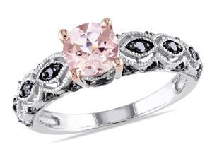 Sofia B 1/4 CT Black Diamond and 4/5 CT Pink Morganite 10K White Gold Engagement Ring