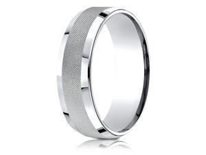 18 Karat White Gold 7mm Comfort-Fit Cross Hatch Center Design Band Ring