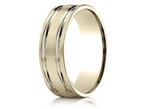 14K Yellow Gold 7mm Comfort-Fit Parallel Grooves Carved Design Band Ring