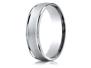 14K White Gold 6mm Comfort-Fit Wired-Finished Round Edge Carved Design Band Ring
