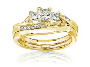 1/2 CT TDW Diamond 14K Gold Wedding Bridal Set Ring