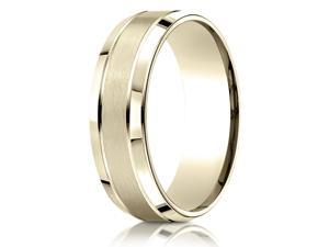 10K Yellow Gold 7mm Comfort-Fit Beveled Edge Carved Design Band Ring