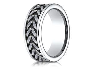 Cobalt 8mm Comfort-Fit Ring with zippered pattern center