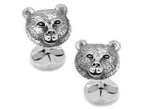 Sterling Bear Head Cufflinks