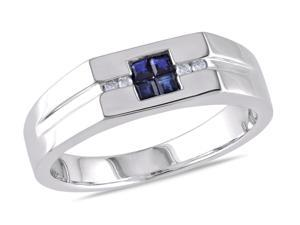Sofia B 1/3 CT TW Blue Sapphire Sterling Silver Ring with Diamond Accents