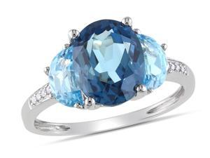 Sofia B 4 1/7 CT TW Blue Topaz Sterling Silver 3-Stone Ring with Diamond Accents