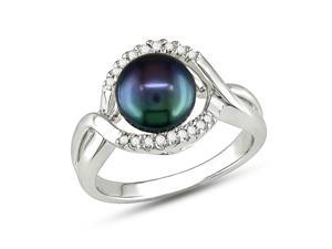 Michiko 7.5-8 mm Black Freshwater Pearl and Diamond Sterling Silver Ring