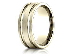 18K Yellow Gold 8mm Comfort-Fit Parallel Grooves Carved Design Band Ring
