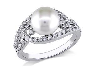 Michiko 1 CT TW White Cubic Zirconia and 8-8.5 mm White Pearl Silver Fashion Ring