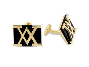 V1969 Italia Black Onyx Cufflinks in Gold-Plated Silver