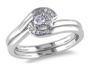Julie Leah 1/7 CT TW Diamond Sterling Silver Swirl Bridal Set