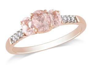 Sofia B 7/8 CT TW Morganite 10K Rose Gold 3-Stone Ring with Diamond Accents