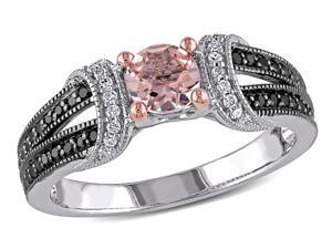 Sofia B 3/4 CT TW Morganite Sterling Silver Ring with Diamond Accents