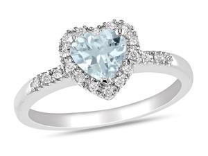 Sofia B 5/7 CT TW Diamond and Aquamarine Silver Heart Ring