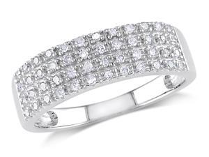Julie Leah 1/4 CT Diamond Sterling Silver 4-Row Semi-Eternity Fashion Ring
